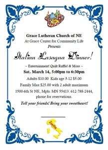 Lasagna Dinner Mar 14