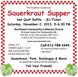 Sauerkraut Supper 11/2/13 NE Community Lutheran Church