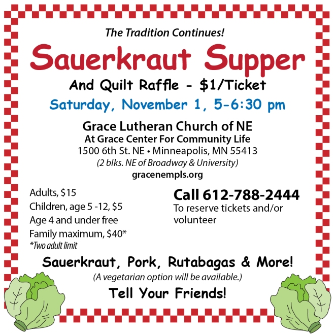 Sauerkraut Supper 11/1/14 at Grace Church